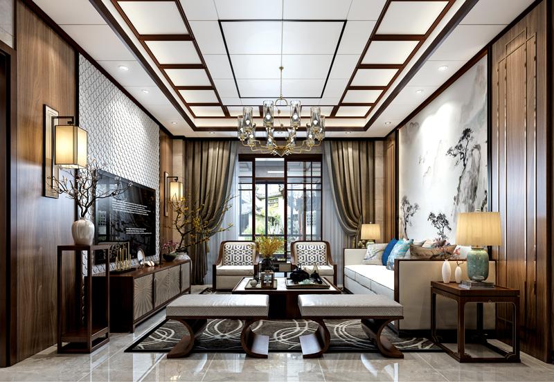 中式客廳頂墻設計效果