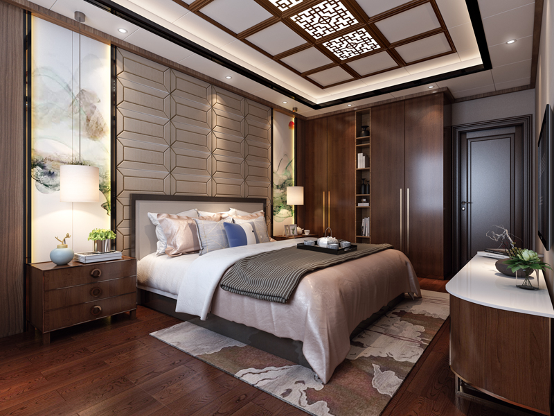 中式風臥室,百吉燈