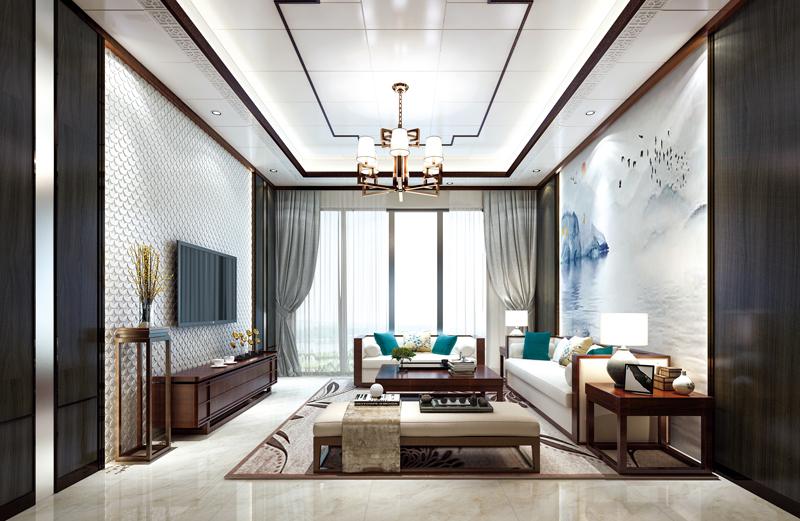 新中式客廳頂墻設計