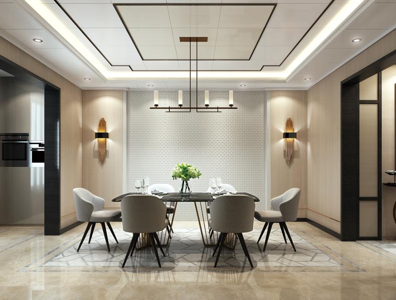 新中式風格餐廳、古編石