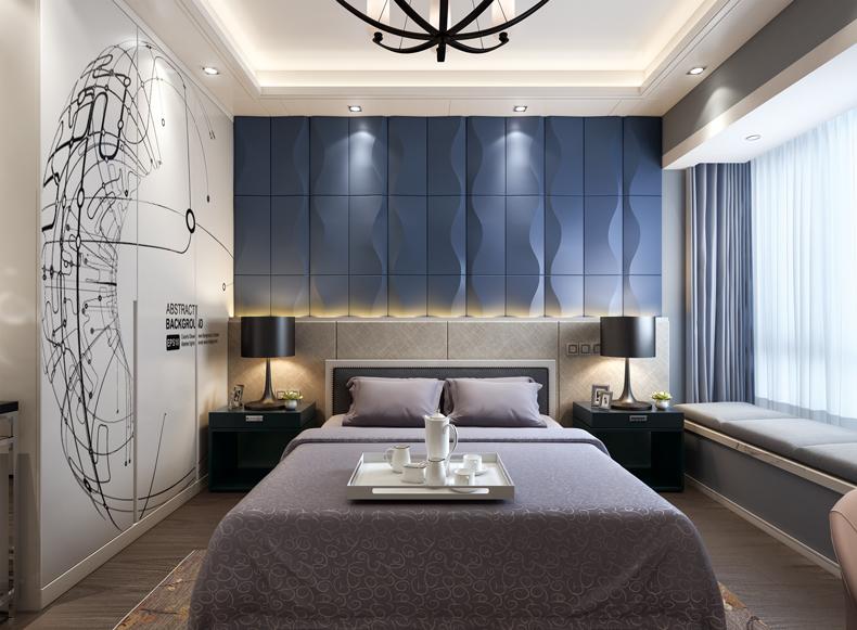 臥室床頭背景墻--水紋