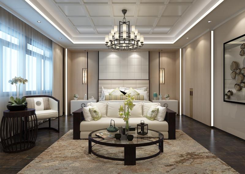 中式臥室--典雅皮背景墻