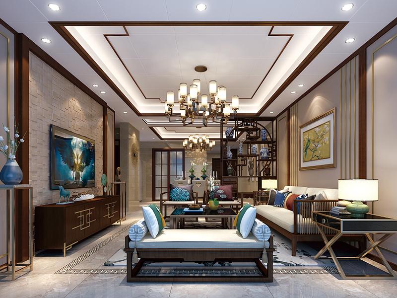 馬賽風情背景墻--新中式客廳