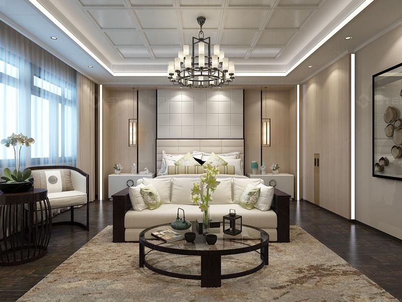 新中式臥室吊頂背景墻