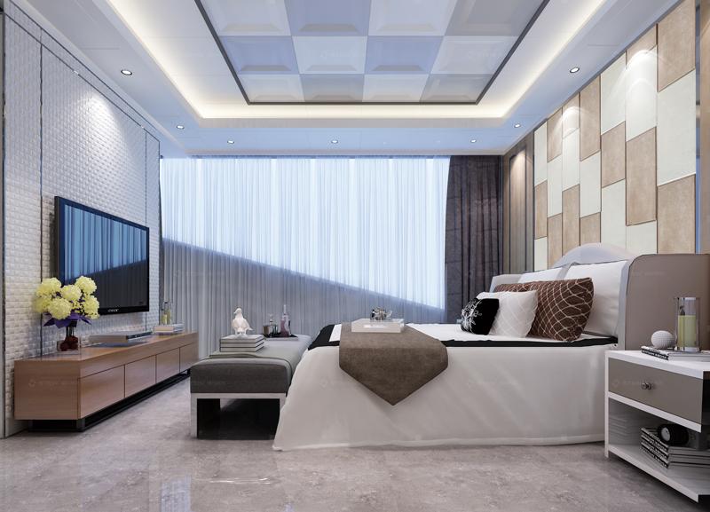 現代風格臥室--典雅皮背景墻